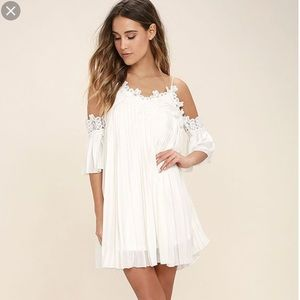 Nasty Gal | White Crochet Trim Cold Shoulder Dress